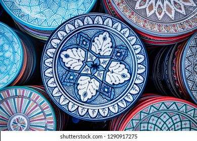 Selection of plates, bowls and porcelain for sale in the market square souk of Marrakesh