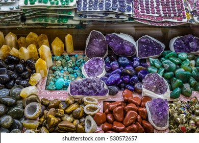 Selection of precious and semiprecious stones on the market, Istanbul, Grand Bazaar, Turkey