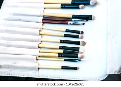 Selection of professional makeup brushed