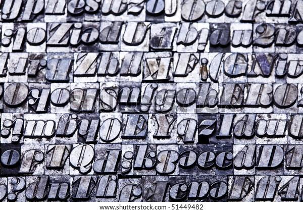 Selection Random Letterpress Type Characters Typography