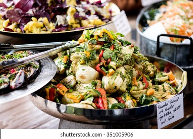 Selection of salad in a rich buffet