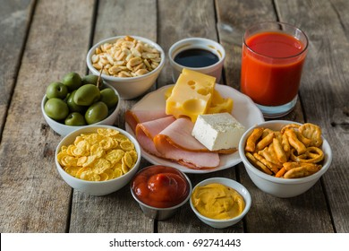 Selection of salt high in salt. Unhealthy diet choice, high blood pressure risk