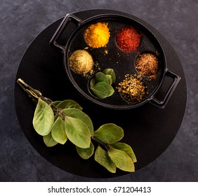 Selection spice powder and herbs. Top view