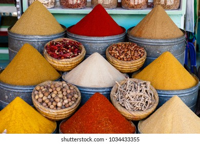 Selection of spices on a traditional Moroccan market (souk) in Marrakech Morocco