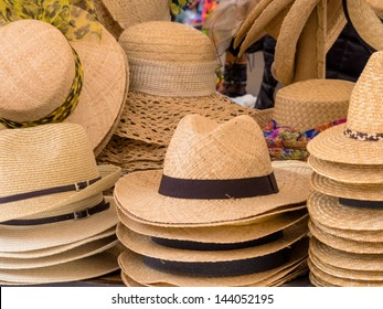 selection of straw hats, symbol photo for summer fashion, choice, retail