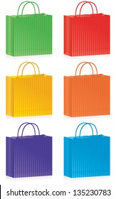 A selection of striped shopping bags in bright colors.