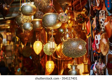 Selection of traditional lamps on Moroccan market (souk) in Marrakech, Morocco