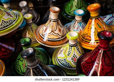 Selection of traditional tajines on Moroccan market in Marrakech, Morocco