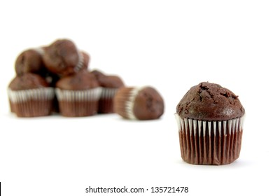 Selection or variety of chocolate mini muffin  fairy cakes