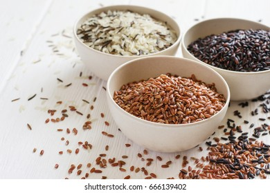 Selection of variety of gourmet rice in bowls. Selective focus, copy space