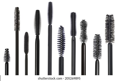 Selection of various mascara brushes isolated on white
