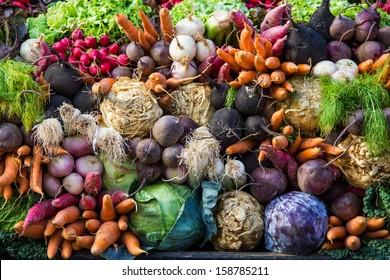Selection of vegetables from a farmer's market in the small city of Colmar in the Alsace region in France