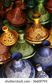 Selection of very colorful Moroccan tajines (traditional casserole dishes)
