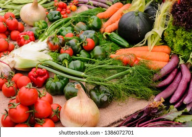 Selection of very fresh fruit and vegetables
