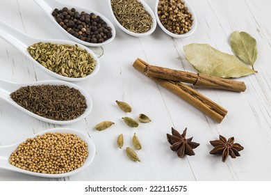 Selection of whole seeds and spices