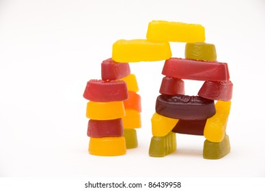 A selection of wine gums assorted into a building