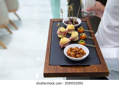 selective of canape on slate platter