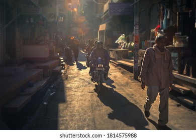 Selective focus. 02/02/2020 India, Jaisalmer, busy traffic and trade on the street of the ancient desert city of fort