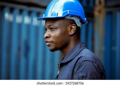 Selective focus at African black, He working in logistic.