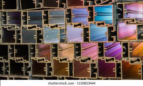 Selective focus aluminium bar in factory with create lighting