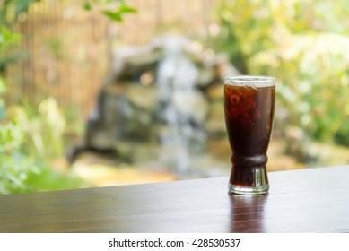 selective focus Black coffee with ice, Ice coffee