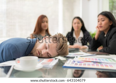 selective focus business people sleeping conference の写真素材 今