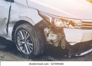 Selective focus Car crash background