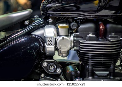 Selective Focus of  Carburetor of Motorcycle on background,  Technology to mix fuel with air to ignition engine to work.