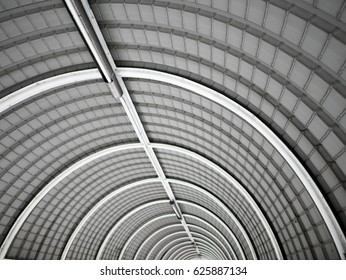 Selective focus the ceiling of tunnel.