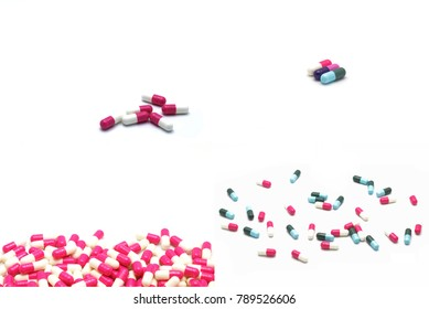 selective focus colorful antibiotic capsules pills collection isolated on white background with copy space for texting.Collabration of capsules background wall paper.
