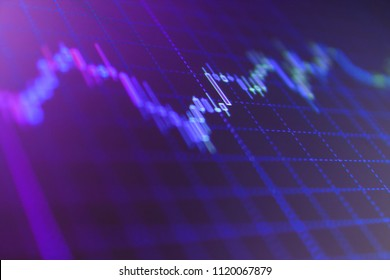 Selective focus creative effect. Financial statistic analysis on dark background with growing financial charts. Stock exchange graph. Live stock trading online.