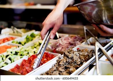 Selective focus detail shots of a salad bar