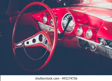 Selective focus detain of console vintage car. retro picture style