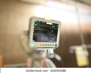 Selective focus Display screen of vital signs monitor in the hospital, medical equipment, healthcare and medical concept.