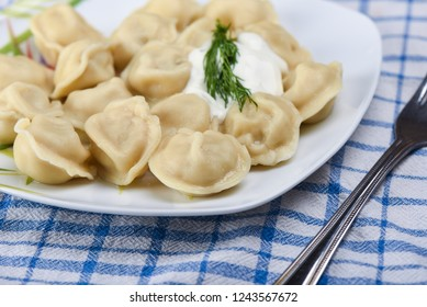 Selective focus. Dumplings with sour cream on a plate