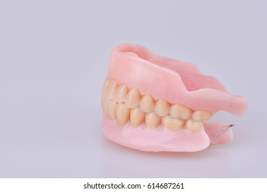 Selective Focus of False Teeth on White Background Isolated