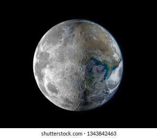 selective focus  Half moon And half the world overlaps in space. The concept of living on the moon.Elements of this image furnished by NASA
