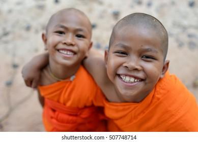 Selective focus happy smile Novice monk