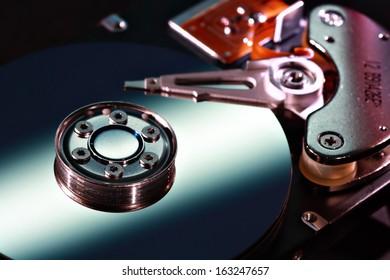 Selective focus hard disc close-up