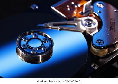 Selective focus hard disk close-up, blue
