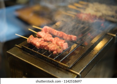selective focus japanese wagyu beef skewers grills by yakitori style