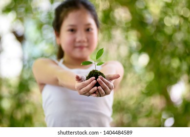 Selective focus at little seedling on young girl hand in a garden.