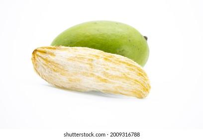 selective focus, mango with mango seeds isloate on white background
