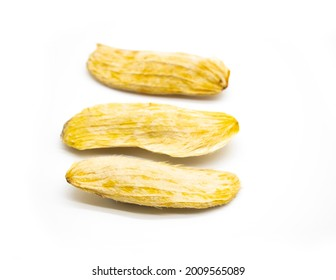 selective focus, mango seeds isloate on white background