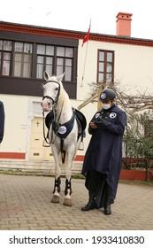 selective focus. March 6, 2021, Istanbul, Turkey Buyukada: Mounted police are checking the coronavirus mask