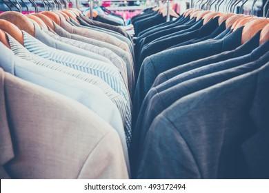 Selective focus men shirt on rack ,retro picture style