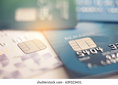 Selective focus microchip on Credit card or Debit card for background.