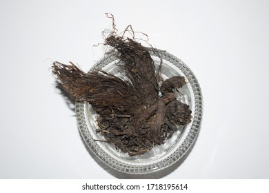Selective focus of nard in transparent bowl.Nardostachys jatamansi also known as Indian spikenard is herbal ayurvedic medicinal ancient root used in ayurveda treatment of many ailments and diseases
