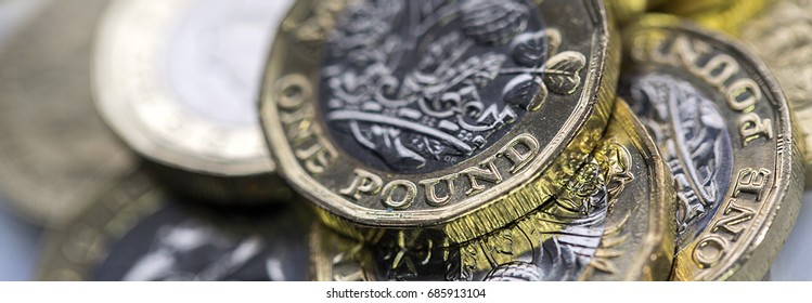 Selective Focus of the New UK One Pound Coin