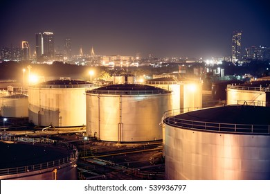 Selective focus Oil Tanks for background